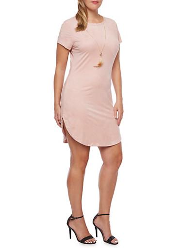Plus Size Faux Suede Dress with Removable Necklace,MAUVE,large