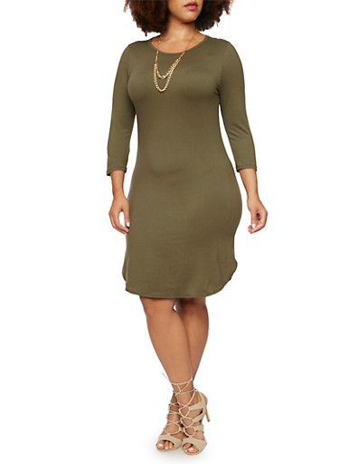 Plus Size Brushed Knit Midi Dress with Curb Chain Necklace,OLIVE,large
