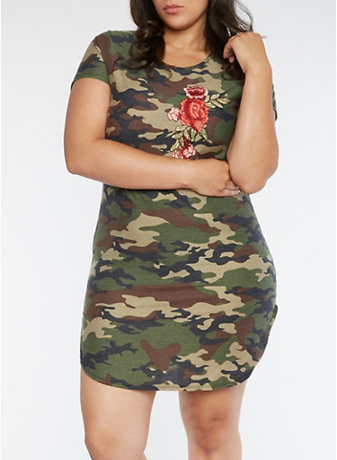 Plus Size Camo Dress with Floral Applique,OLIVE,large