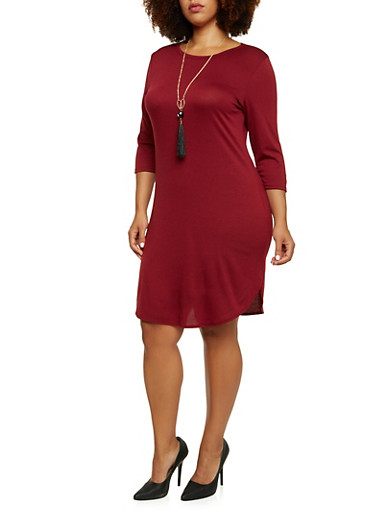 Plus Size Jersey Dress with Tassel Necklace,BURGUNDY,large