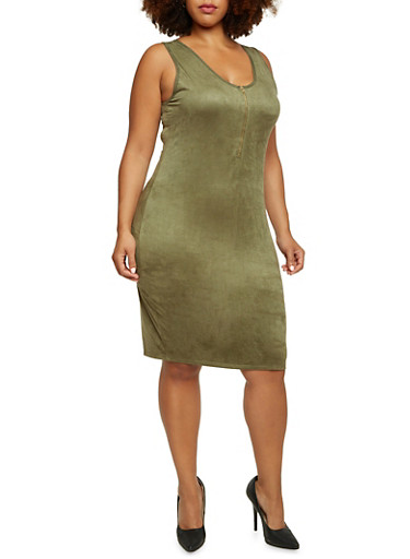 Plus Size Sleeveless Zippered Dress in Faux Suede,OLIVE,large