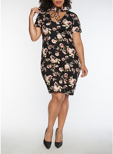 Plus Size Floral Lace Up Choker Dress,BLACK/ROSE,large