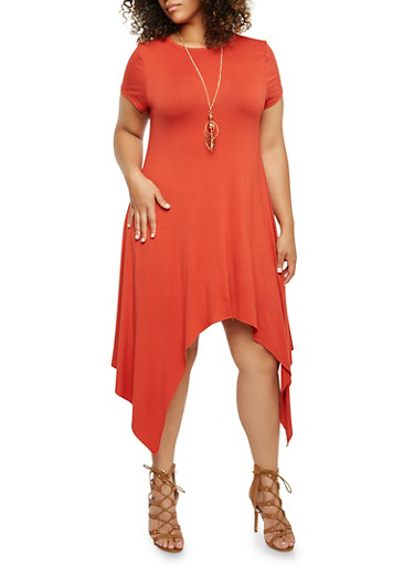 Plus Size Solid Sharkbite Hem Dress with Removable Necklace,RUST,large