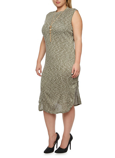 Plus Size Knit Dress with Side Slits and Removable Necklace,OLIVE,large