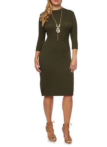 Plus Size Knit Midi Dress with Removable Necklace,OLIVE,large