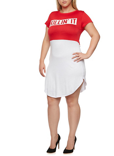 Plus Size Color Block T Shirt Dress with Killin It Graphic,WHITE/RED,large