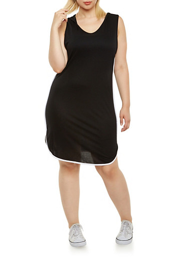 Plus Size Hooded Jersey Dress,BLACK/WHITE,large