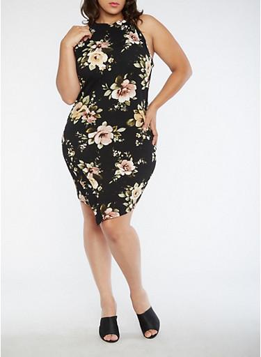 Plus Size Floral Envelope Hem Dress,BLACK,large