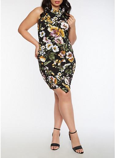 Plus Size Floral Mock Neck Bodycon Dress,BLACK,large