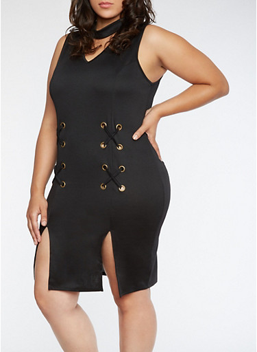 Plus Size Grommet Dress with Front Slits at Rainbow Shops in Jacksonville, FL | Tuggl