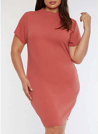Plus Size Textured Knit Funnel Neck Dress,WITHERED ROSE,large