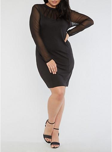 Plus Size Mesh Bodycon Dress,BLACK,large