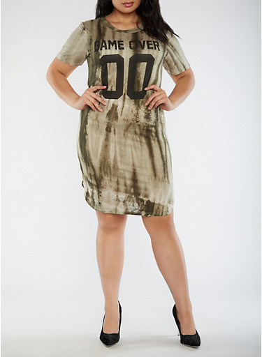 Plus Size Game Over T Shirt Dress,SAGE,large