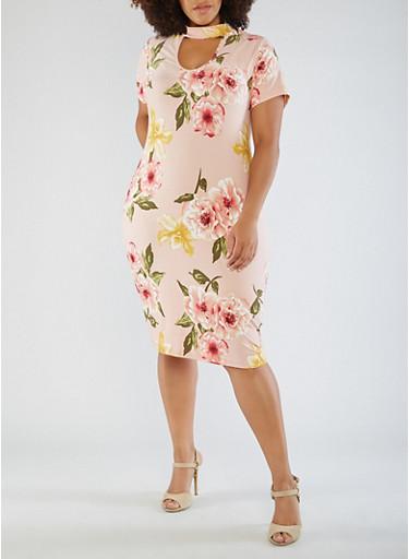Plus Size Floral Choker Neck Bodycon Dress,MAUVE,large
