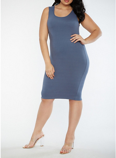 Plus Size Soft Knit Bodycon Dress,BLUE,large