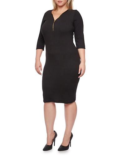 Plus Size Dress with Zip Neckline,BLACK,large