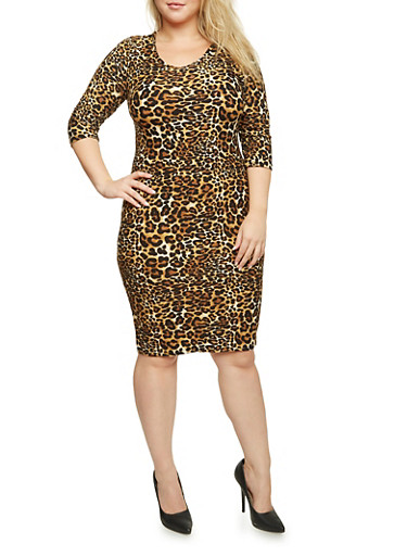 Plus Size Bodycon Dress in Leopard Print,BLACK,large