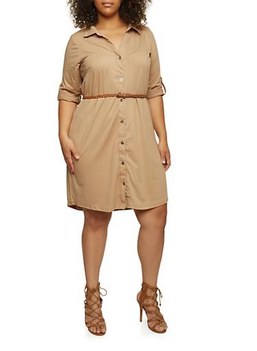 Plus Size Brushed-Knit Shirt Dress with Removable Belt,KHAKI,large