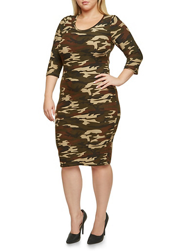 Plus Size Bodycon Dress in Camo Print,OLIVE,large