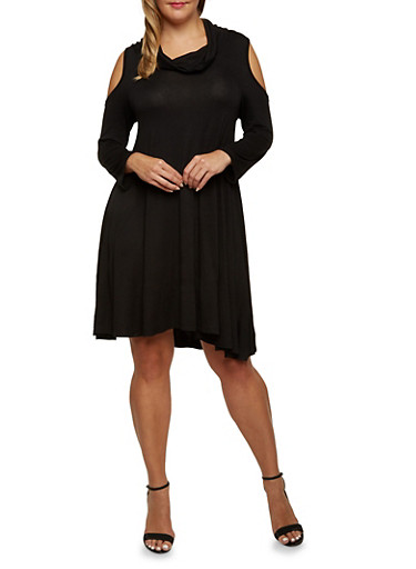 Plus Size Cowl Neck Cold Shoulder Swing Dress,BLACK,large