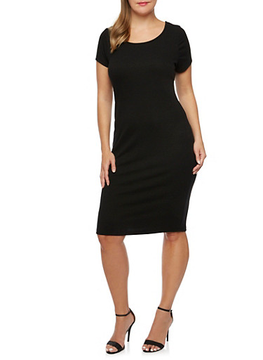 Plus Size Rib-Knit Midi Dress with Scoop Neck,BLACK,large