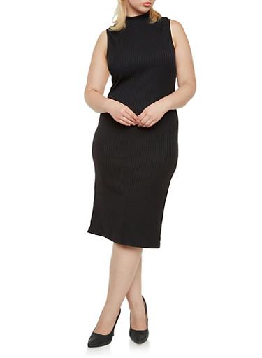 Plus Size Sleeveless Midi Dress in Ribbed Knit,BLACK,large