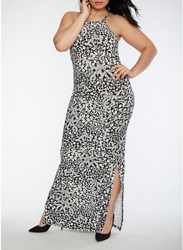 Plus Size Printed Soft Knit Maxi Dress,WHT-BLK,large