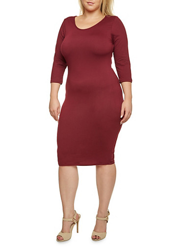 Plus Size Knit Midi Dress,BURGUNDY,large