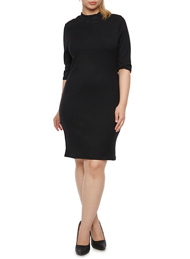 Plus Size Ribbed Mock Neck Dress,BLACK,large