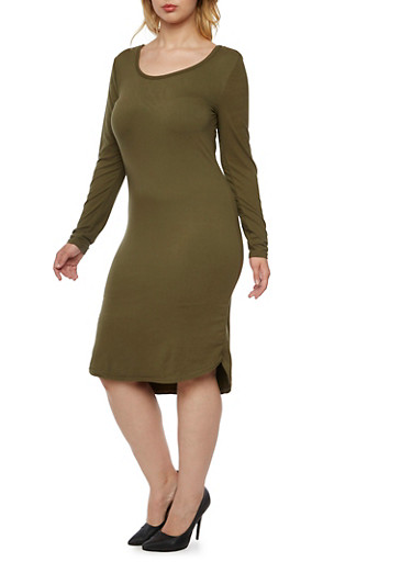 Plus Size Knit Dress with Long Sleeves,OLIVE,large