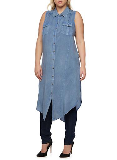 Plus Size Chambray Shirt Dress with High Side Slits,MEDIUM WASH,large