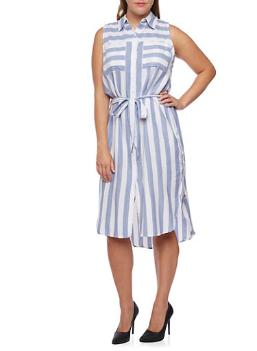 Plus Size Striped Shirt Dress with Waist Tie Cinch,CHAMBRAY/WHITE,large