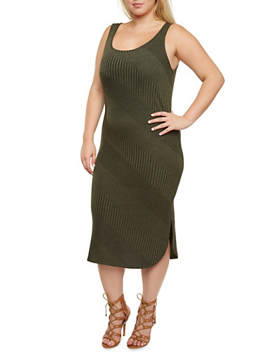 Plus Size Knit Dress with Varied Stripes and Scoop Neck,OLIVE,large