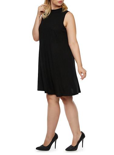 Plus Size Swing Dress with Mock Neck,BLACK,large