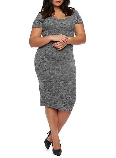Plus Size Midi Dress in Marled Knit,BLACK,large