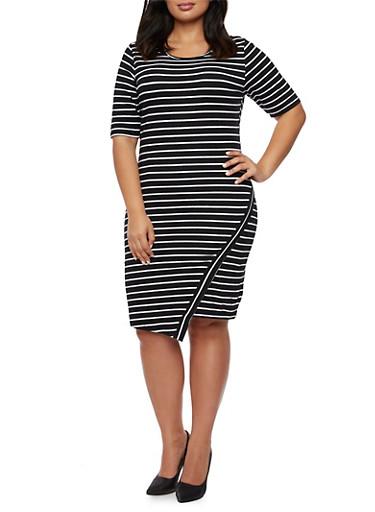 Plus Size Striped Dress with Asymmetrical Skirt,BLACK/WHITE,large