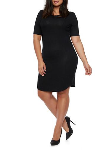 Plus Size Ribbed T Shirt Dress,BLACK,large