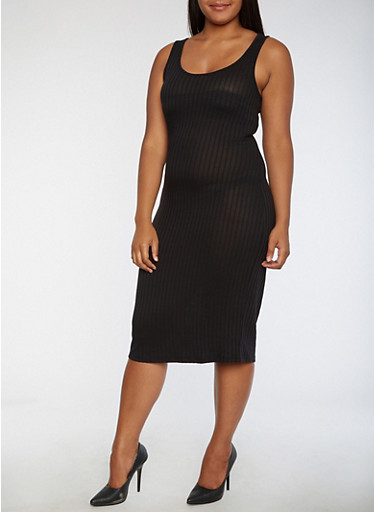 Plus Size Ribbed Knit Tank Dress,BLACK,large
