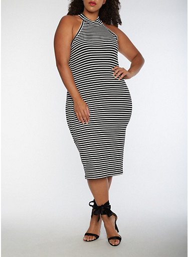 Plus Size Striped Choker Neck Bodycon Dress,BLACK/WHITE,large
