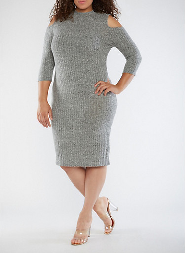 Plus Size Ribbed Knit Cold Shoulder Dress,GRAY,large
