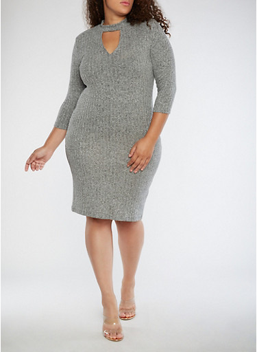 Plus Size Ribbed Knit Keyhole Dress,MARLED,large