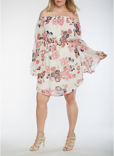 Plus Size Off the Shoulder Dress with Bell Sleeves,WHITE/PINK,large