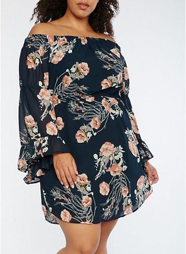 Plus Size Floral Off the Shoulder Dress,HUNTER/PEACH,large
