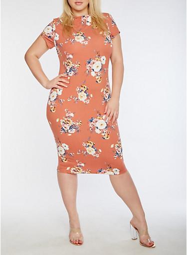 Plus Size Short Sleeve Floral Printed Midi Dress,MAUVE,large