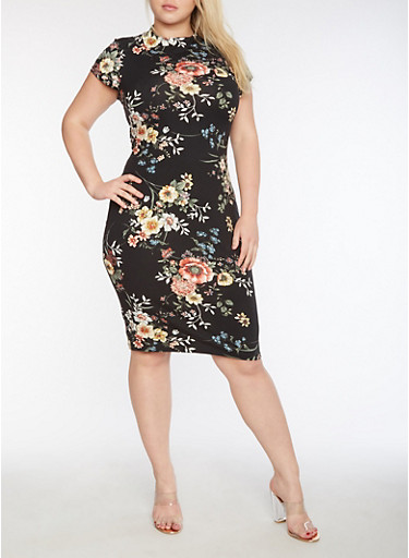 Plus Size Short Sleeve Printed Midi Dress,BLACK/ROSE,large