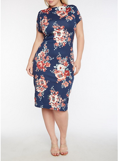 Plus Size Short Sleeve Floral Printed Midi Dress,NAVY/ROSE,large