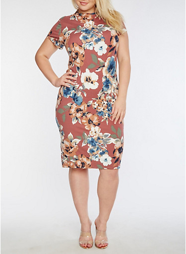 Plus Size Short Sleeve Floral Printed Midi Dress,D MAUVE,large