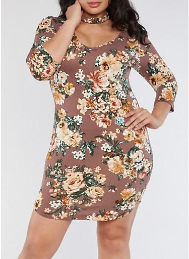Plus Size Choker Neck Floral Bodycon Dress,MAUVE,large
