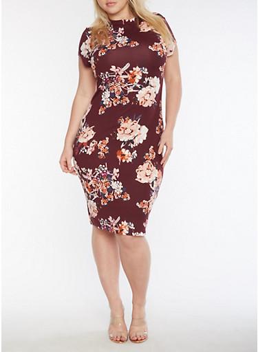 Plus Size Short Sleeve Floral Printed Midi Dress,PLUM,large