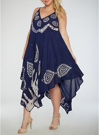 Plus Size Printed Trapeze Dress,NAVY,large